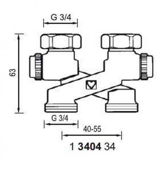 Hahnblock HERZ Heizkörper Kreuzungsstück Abstand 50 Bauform X